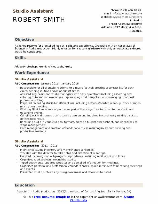 studio assistant resume samples qwikresume pdf excellent writing skills knowledge and Resume Studio Assistant Resume