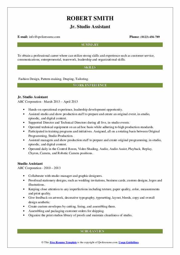 studio assistant resume samples qwikresume pdf excellent writing skills retail template Resume Studio Assistant Resume