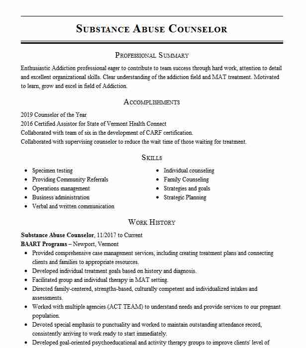 substance abuse counselor resume example livecareer entry level cosmetology student Resume Entry Level Substance Abuse Counselor Resume