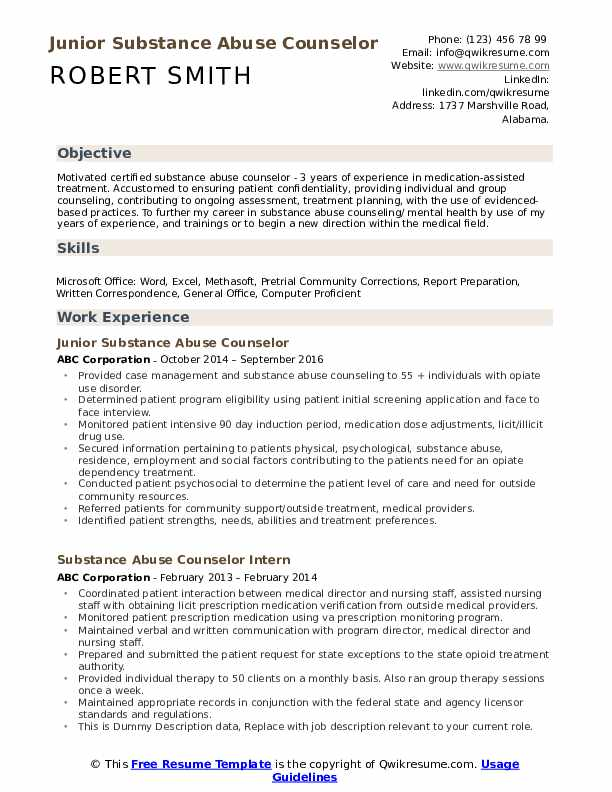substance abuse counselor resume samples qwikresume entry level pdf emt example hedge Resume Entry Level Substance Abuse Counselor Resume