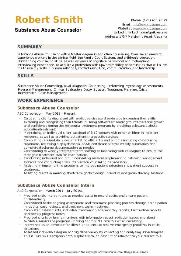 substance abuse counselor resume samples qwikresume entry level pdf emt example special Resume Entry Level Substance Abuse Counselor Resume