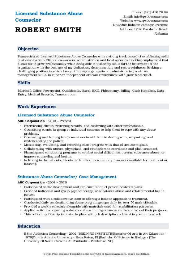 substance abuse counselor resume samples qwikresume entry level pdf template with Resume Entry Level Substance Abuse Counselor Resume
