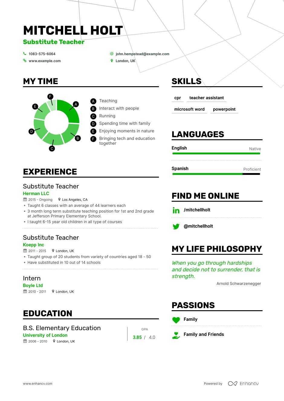 substitute teacher resume example for enhancv objective dob welder on demi chef Resume Substitute Teacher Resume Objective