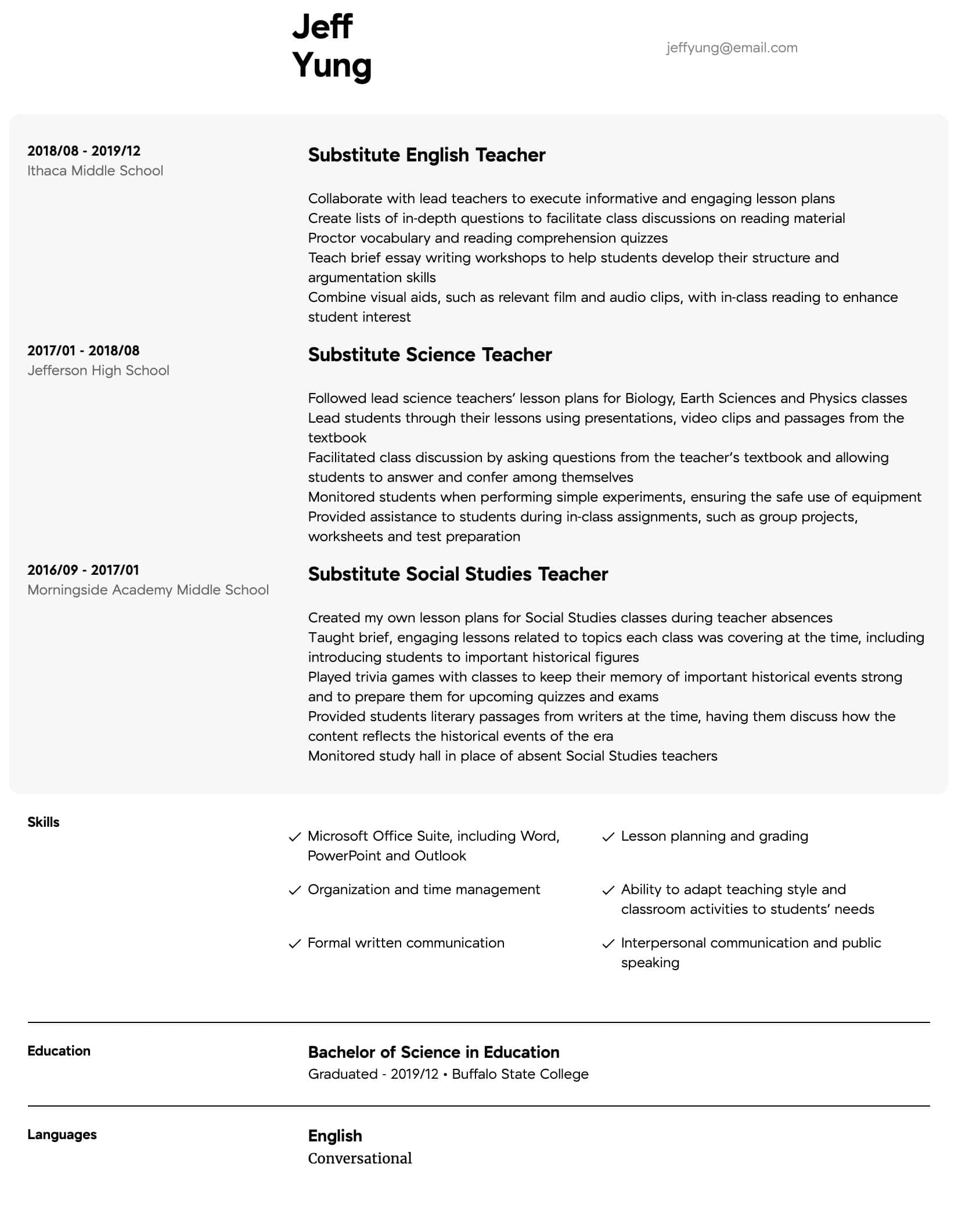 substitute teacher resume samples all experience levels science format intermediate hotel Resume Science Teacher Resume Format