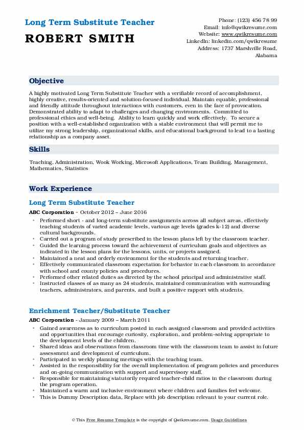 substitute teacher resume samples qwikresume objective pdf playback with one job history Resume Substitute Teacher Resume Objective