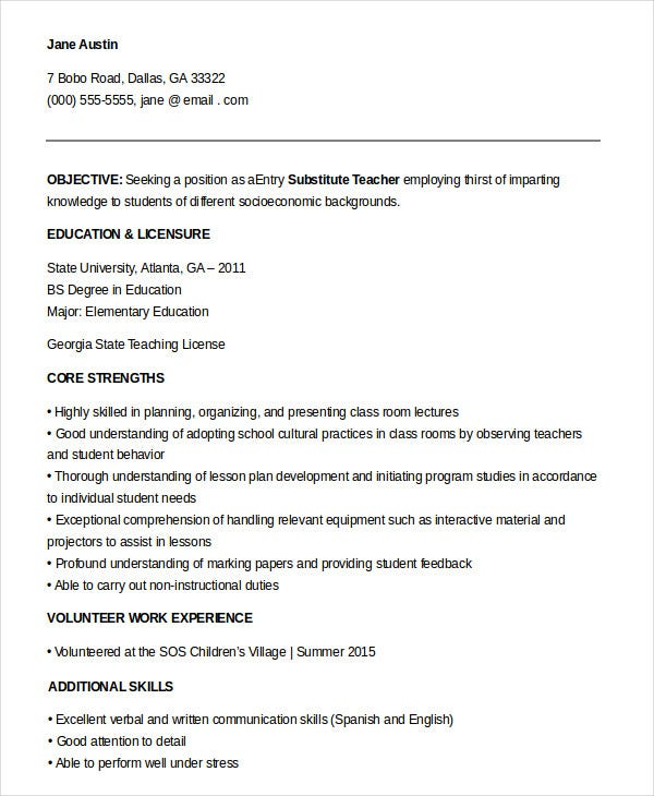 substitute teacher resume templates pdf free premium objective entry level clinical Resume Substitute Teacher Resume Objective