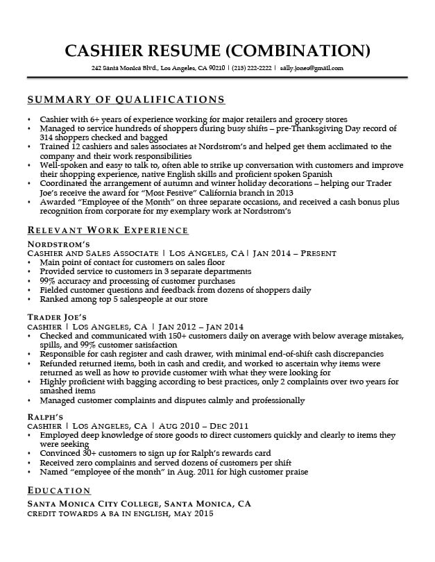 summary of qualifications resume companion the best for cashier with projects data Resume The Best Summary For Resume