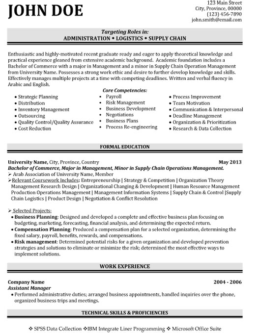 supply chain logistics resume sample template student administration hospital security Resume Supply Logistics Resume