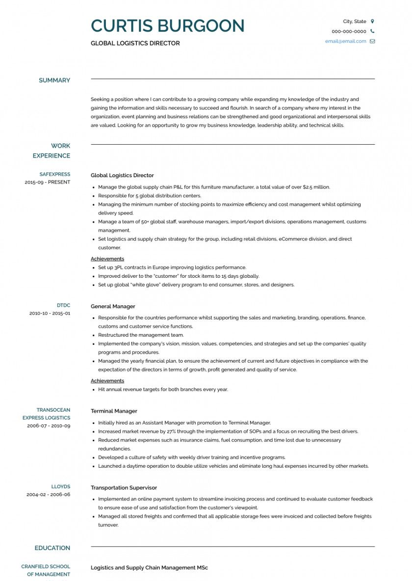 supply chain resume examples best of logistics manager samples templates visualcv cv Resume Logistics Manager Resume