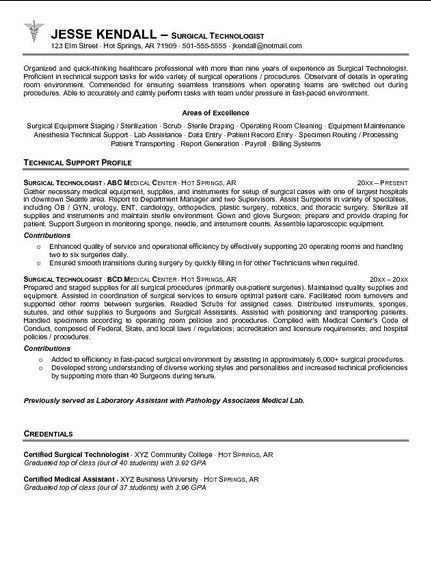 surgical technologist student resume sample assistant contoh spa cpc examples keyword Resume Surgical Assistant Resume Sample