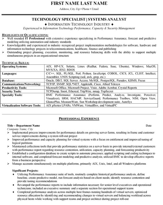 system analyst resume sample template example technology specialist systems another word Resume System Analyst Resume Example
