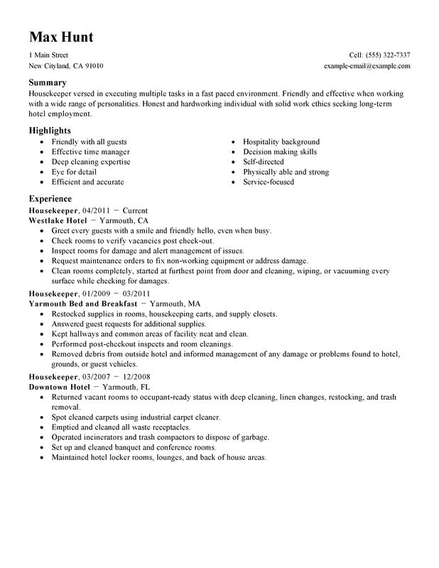 take look at our housekeeper resume example self summary for sample hotel and hospitality Resume Self Summary For Resume Sample