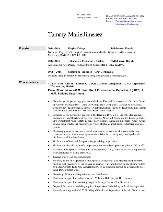 tammy marie jimenez resume permit coordinator making cover letter for sample physical Resume Permit Coordinator Resume