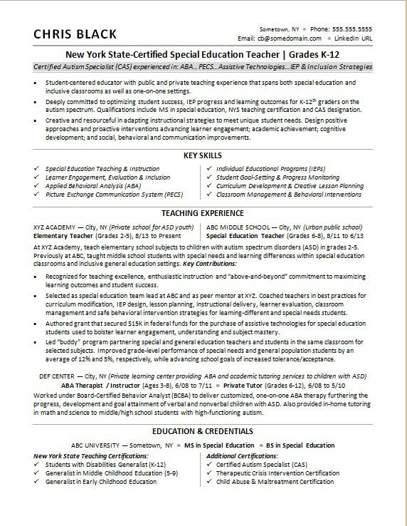teacher resume sample monster special education examples for summer job retail manager Resume Special Education Teacher Resume Examples