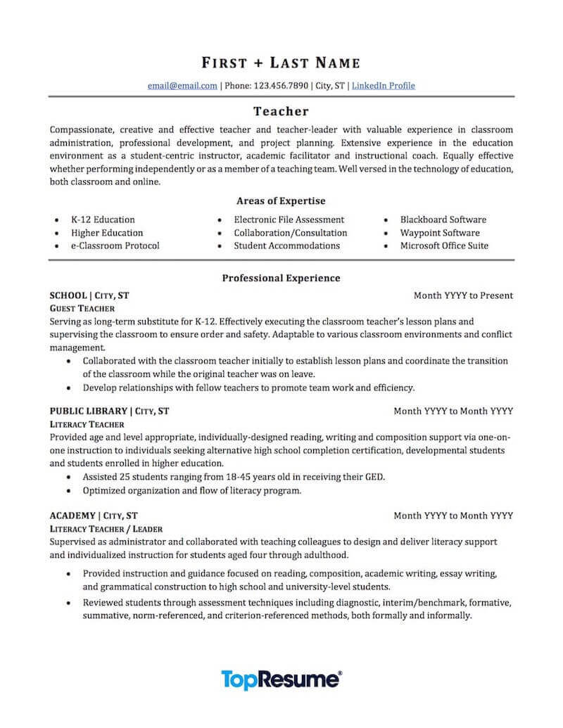 teacher resume sample professional examples topresume education experience page1 data Resume Education Experience Resume