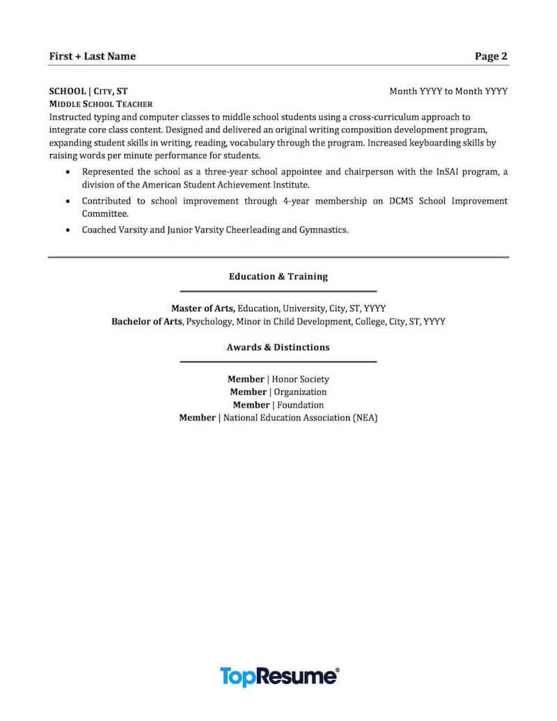 teacher resume sample professional examples topresume licensed page2 accounts payable job Resume Licensed Professional Teacher Resume