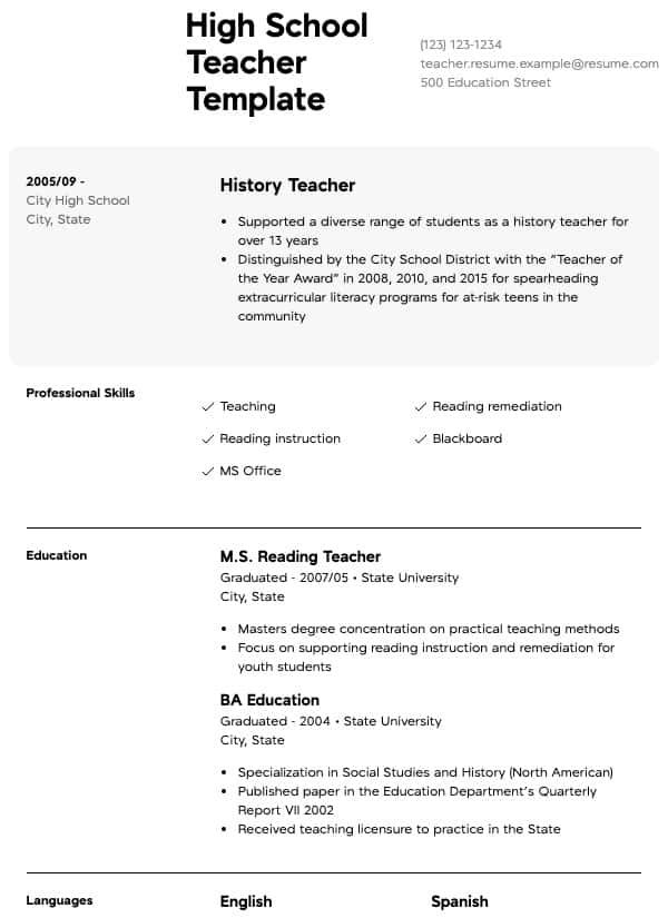 teacher resume samples all experience levels school super format for science graduates Resume Resume School Experience