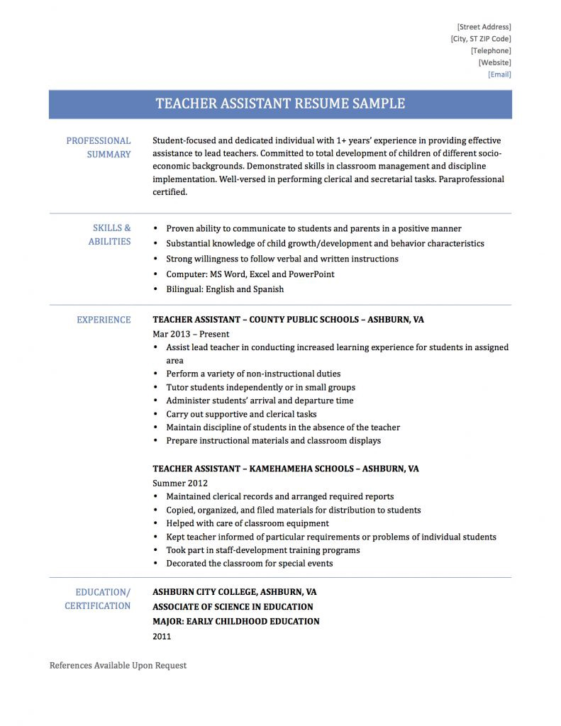 teaching assistant resume samples templates and tips by builders medium learning Resume Learning Assistant Resume