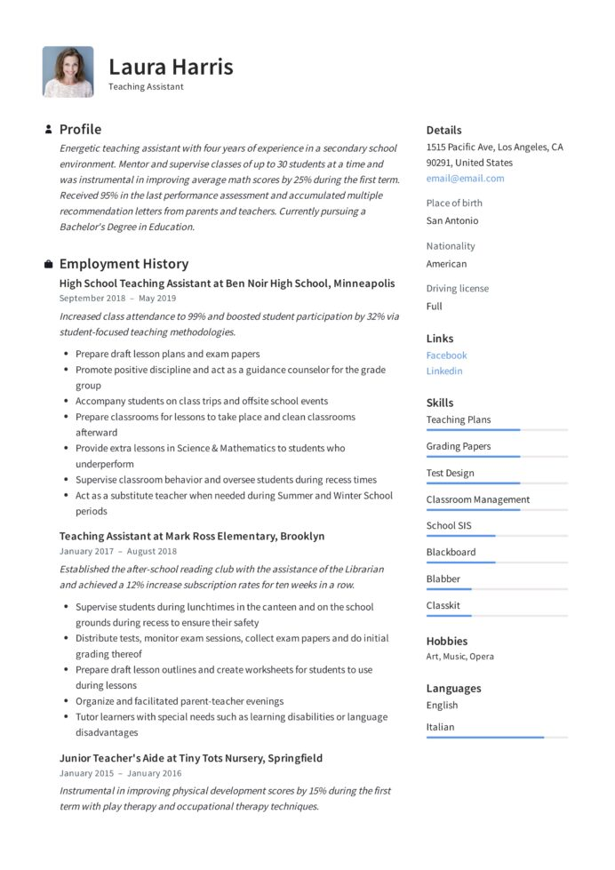 teaching assistant resume writing guide templates pdf degree received on template college Resume Degree Received On Resume