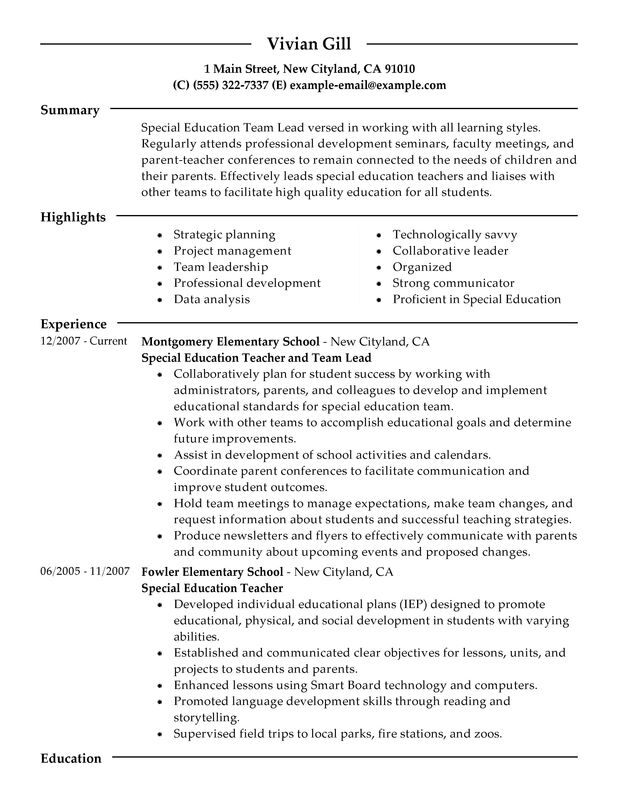 team lead resume examples free to try today myperfectresume special education teacher Resume Special Education Teacher Resume Examples