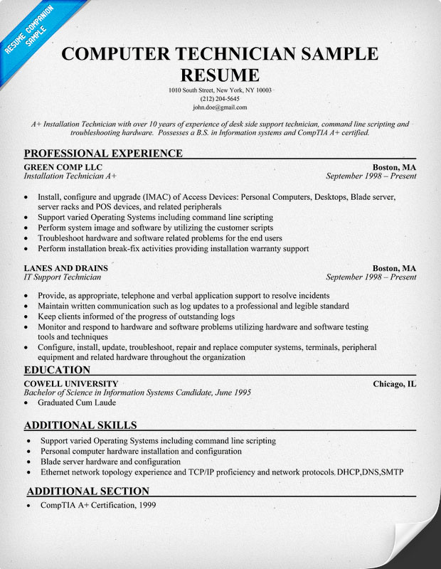 technician resume sample network pc write my paper for in high quality computer indeed Resume Computer Technician Resume