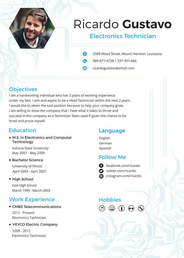 technician resume template free word pdf documents premium templates computer electronic Resume Computer Technician Resume