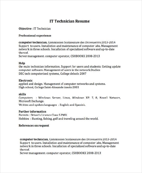 technician resume template free word pdf documents premium templates software for windows Resume Free Resume Software For Windows Xp