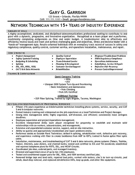 telecom technician resume example cable sample extec19a entry level banking samples Resume Cable Technician Resume