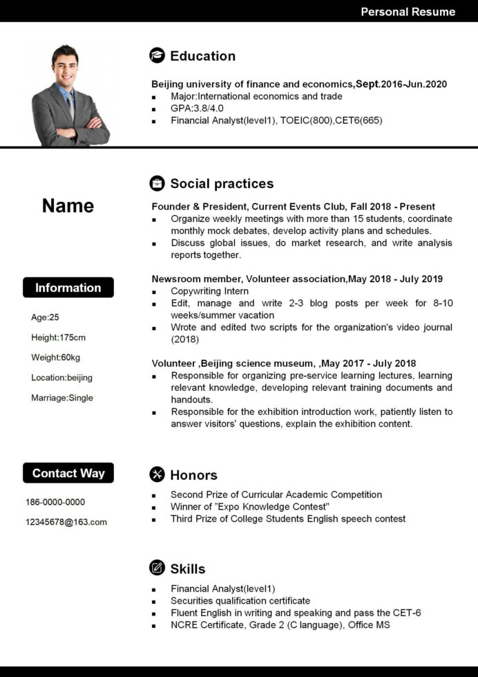 sample resume for working abroad