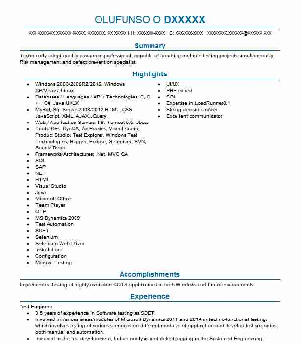 test engineer resume example engineering resumes livecareer software objective for first Resume Software Test Engineer Resume