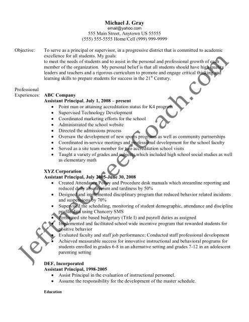 the assistant principal resume sample three in pdf objective for react native medical Resume Objective For Assistant Principal Resume