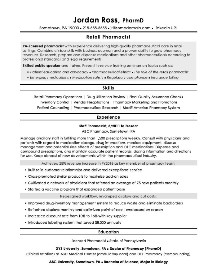 the best pharmacist cv and résumé examples clinical resume objective retail example Resume Clinical Pharmacist Resume Objective