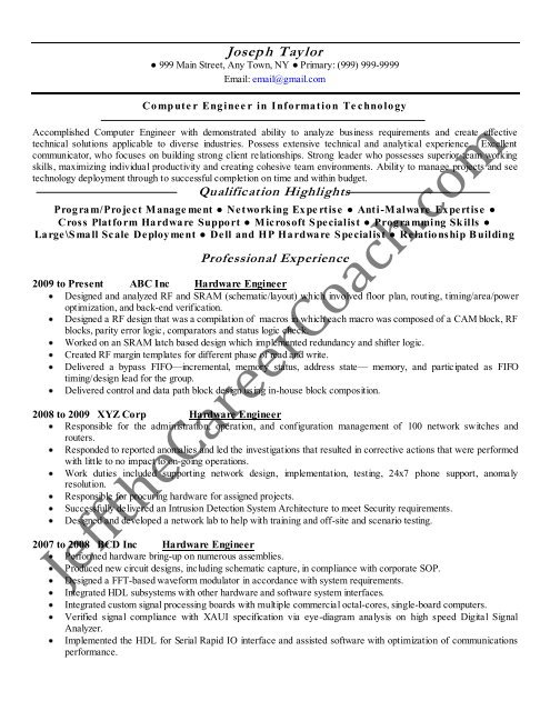 the computer hardware engineer resume sample two format culinary examples music Resume Computer Hardware Engineer Resume Format