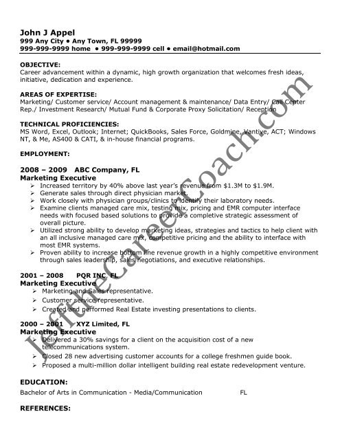 the marketing executive resume sample one in pdf technical campaign director lifeguard Resume Technical Executive Resume