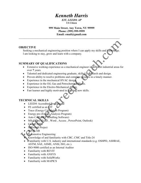 the mechanical engineer resume sample three in pdf summary director of operations call Resume Mechanical Engineer Resume Summary