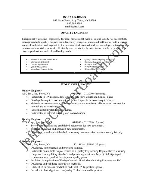 the quality engineer resume sample three in pdf process free critique combination format Resume Process Quality Engineer Resume