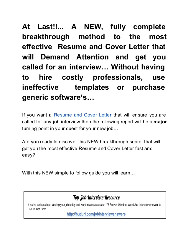 the super effective resume and cover letter formula job interview without minimalist Resume Job Interview Without Resume