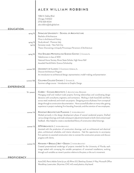 the top architecture résumé cv designs archdaily student resume alex william robbins Resume Architecture Student Resume