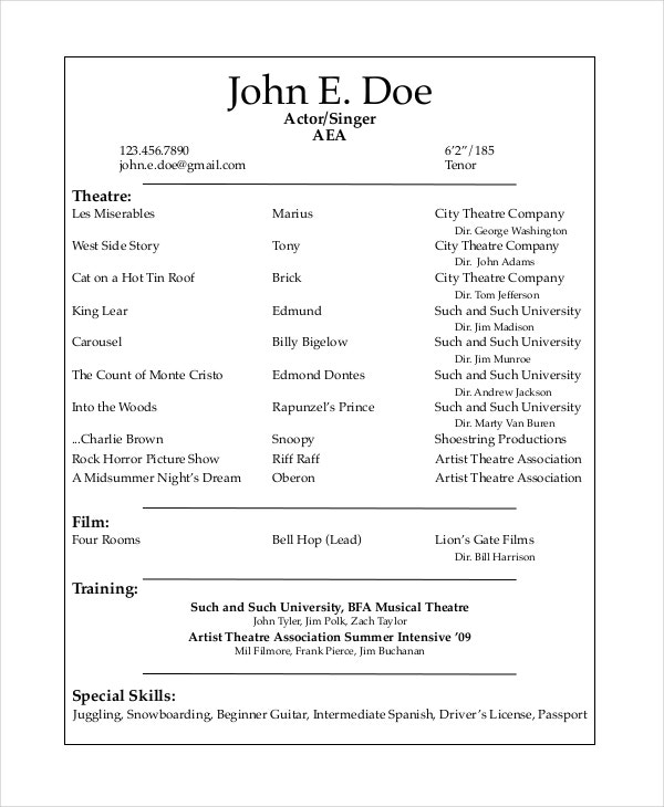 theater resume template free word pdf documents premium templates acting google docs Resume Acting Resume Template Google Docs