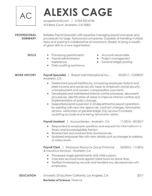 to include resume education examples tips section accounting payroll specialist best Resume Resume Education Section