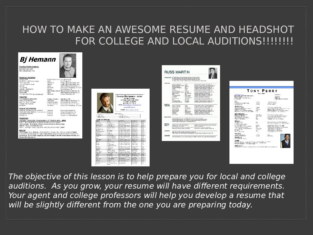 to make an awesome resume and headshot powerpoint presentation free mxzujp audition Resume Audition Resume And Headshot