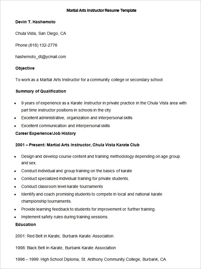 to make good teacher resume template for teachers free sample martial arts instructor Resume Resume Template For Teachers Free Download