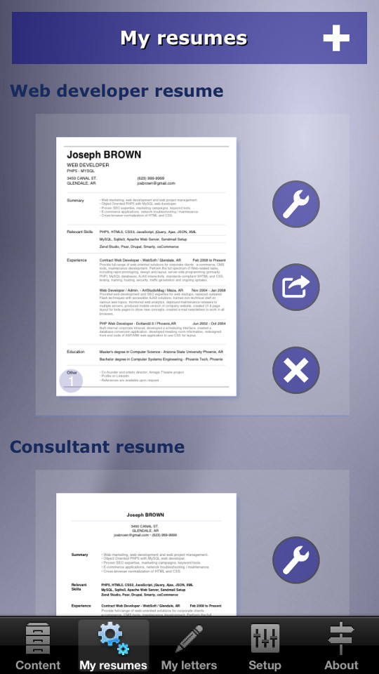 to make your resume cv with iphone ipad or android device giga on screen1 en best designs Resume Make A Resume On Iphone