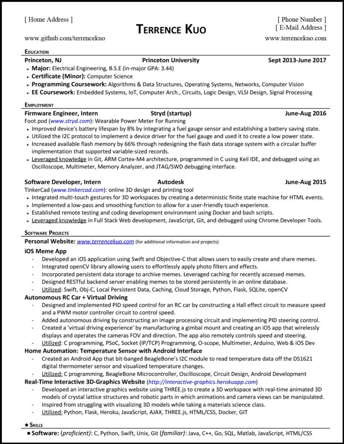 to write killer software engineering résumé by terrence kuo freecodecamp org medium Resume Resume For Google Internship