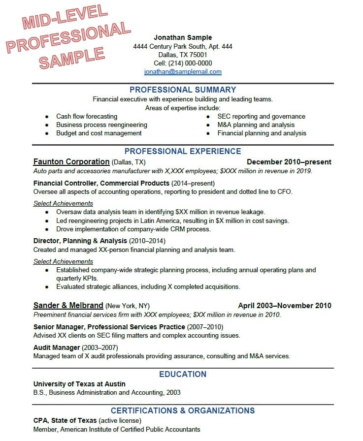 to write the perfect resume based on your years of experience general professional Resume General Professional Summary Resume Sample