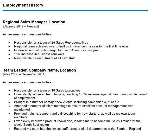 to write your cv employment history section with examples resume only one job career Resume Resume With Only One Job History