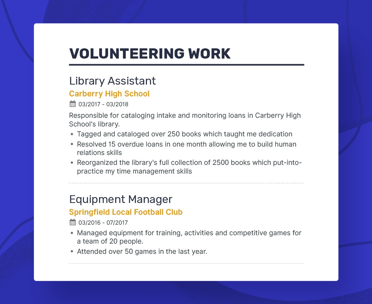 to write your first job resume putting volunteer work on volunteeringwork firstresume Resume Putting Volunteer Work On Resume