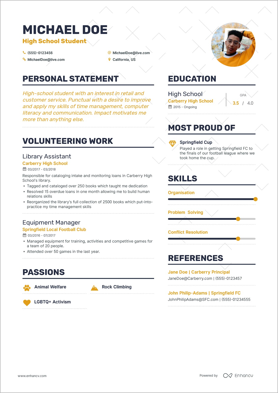 to write your first job resume sample for freshers looking the michaeldoeresume Resume Sample Resume For Freshers Looking For The First Job