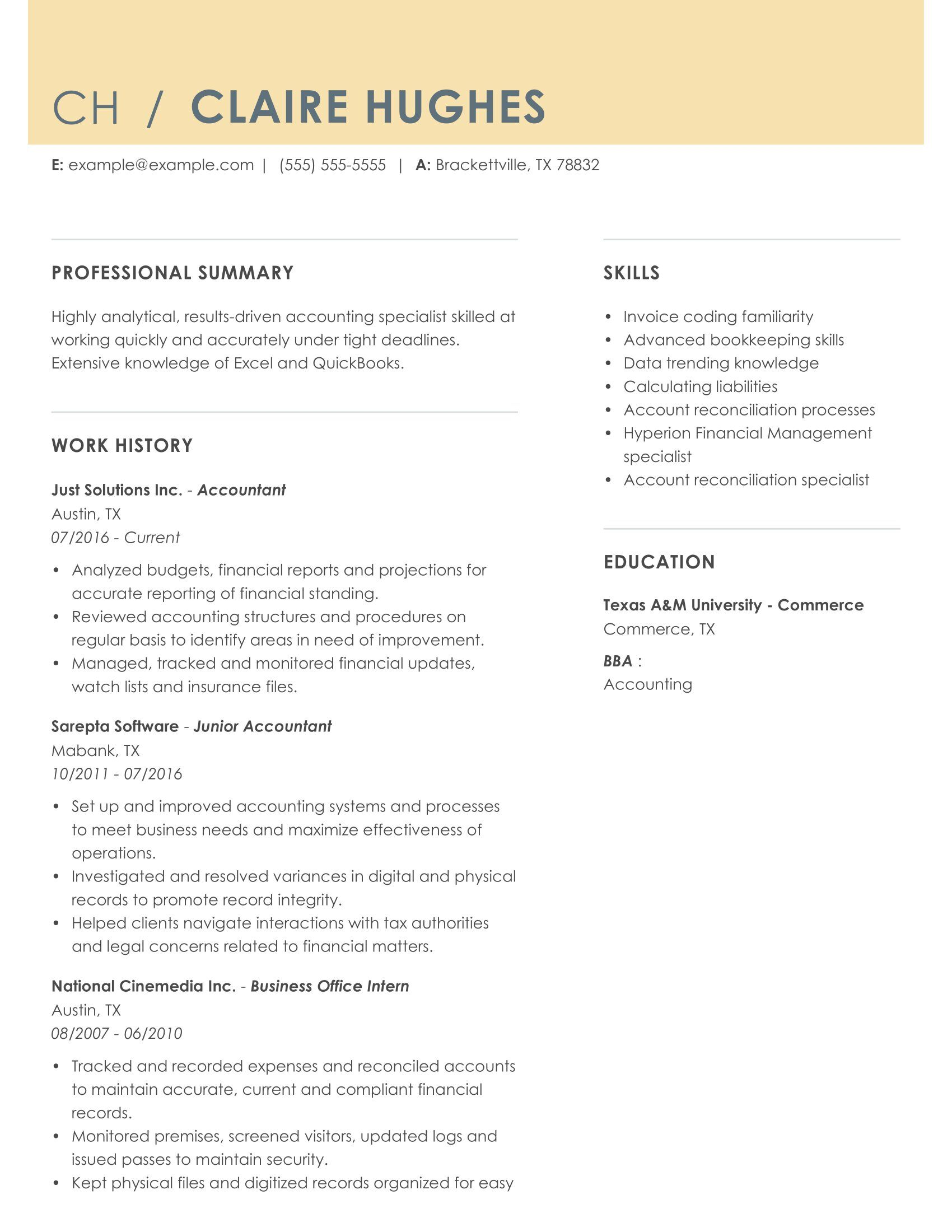 top accountant resume example in myperfectresume accounting skills someexp combo featured Resume Accounting Resume Skills