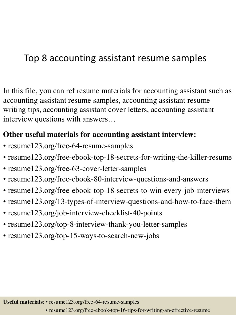 top accounting assistant resume samples sample top8accountingassistantresumesamples Resume Accounting Assistant Resume Sample